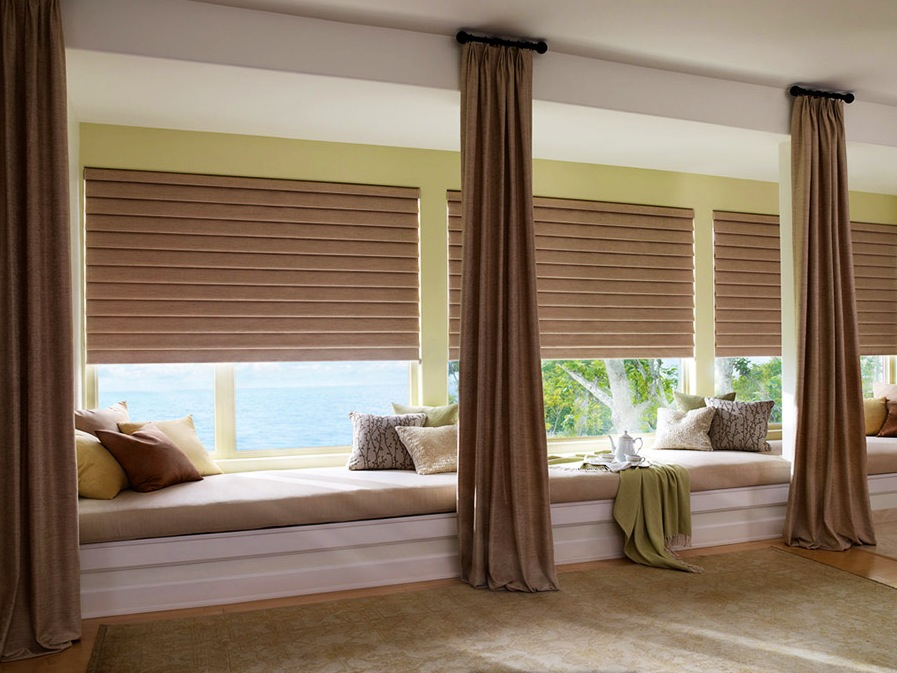 Shades superior view shutters shade blinds ca il for Roman blinds for large windows